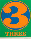 Prints & Multiples, Robert Indiana (b.1928). Three, from Numbers, 1968. Screenprint in colors on Schoellers Parole paper. 25-1/2 x 19-3/...