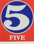 Prints & Multiples, Robert Indiana (b. 1928). Five, from Numbers, 1968. Screenprint in colors on Schoellers Parole paper. 25-1/2 x 19-3/...