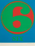 Fine Art - Work on Paper:Print, Robert Indiana (b. 1928). Six, from Numbers, 1968.Screenprint in colors on Schoellers Parole paper. 25-1/2 x19-3/4...