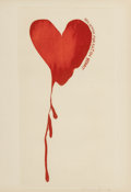 Fine Art - Work on Paper:Print, Jim Dine (b. 1935). Red Design for Satin Heart, fromPictures of Dorian Gray, 1968. Aquatint in colors. 16-1/2 x9 i...