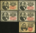 Fractional Currency:Fifth Issue, Fifth Issue Notes Very Good or Better.. Fr. 1266 10¢;. Fr. 130825¢;. Fr. 1309 25¢ (3).. ... (Total: 5 notes)