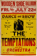 Music Memorabilia:Posters, Temptations Wooden Shoe Ballroom Concert Poster (1966). Extremely Rare....