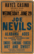 Music Memorabilia:Posters, Joe Nevils Alabama Aces Hayes Casino Concert Poster (circa 1938).Extremely Rare....