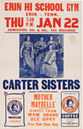 Music Memorabilia:Posters, Carter Sisters/Mother Maybelle Grand Ole Opry Erin Hi School GymConcert Poster (1953). Very Rare....
