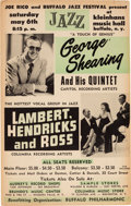 Music Memorabilia:Posters, George Shearing/Lambert Hendricks And Ross Kleinhans Music Hall Concert Poster (1961). Extremely Rare. ...