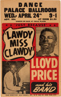 Music Memorabilia:Posters, Lloyd Price Palace Ballroom Concert Poster (1957) ExtremelyRare....