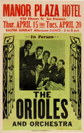 Music Memorabilia:Posters, Orioles Manor Plaza Concert Poster (1954) Extremely Rare....