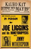 Music Memorabilia:Posters, Joe Liggins And His Honey Drippers Kaliko Kat Concert Poster (BenWaller Presents, circa 1956). Extremely Rare....