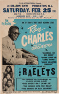 Music Memorabilia:Posters, Ray Charles Dillion Gym Concert Poster (P.E.B. Attractions, 1961).Extremely Rare....