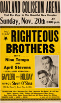 Music Memorabilia:Posters, Righteous Brothers Oakland Coliseum Arena Concert Poster (1966).Extremely Rare....