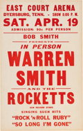 Music Memorabilia:Posters, Warren Smith And The Rocketts/Sun Records East Court Arena ConcertPoster (1958). Extremely rare....