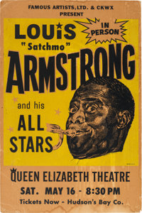Louis Armstrong And His All Stars Queen Elizabeth Theatre Concert Poster (1964). Extremely Rare