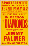 Music Memorabilia:Posters, The Diamonds/Jimmy Palmer Sports Center Concert Poster (1957).Extremely Rare....