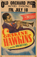 Music Memorabilia:Posters, Erskine Hawkins Autographed Old Orchard Pier Concert Poster (GaleInc., 1941). Extremely Rare....