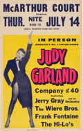 Music Memorabilia:Photos, Judy Garland McArthur Court Concert Poster (1955). Very Rare....