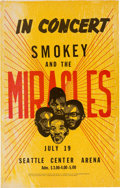 Music Memorabilia:Posters, Smokey And The Miracles Seattle Center Arena Concert Poster (circalate 1960s). Very Rare....