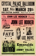 Music Memorabilia:Posters, John Lee Hooker Crystal Palace Ballroom Concert Poster (1964).Extremely Rare....