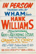 Music Memorabilia:Posters, Hank Williams Grand Ole Opry Concert Poster (1951). Extremely Rare....