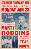 Music Memorabilia:Posters, Marty Robbins Grand Ole Opry Columbia Township Aud. Concert Poster(1956). Very Rare....
