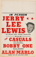 Music Memorabilia:Posters, Jerry Lee Lewis Casuals/Bobby One Concert Poster (circa late1950s). Extremely Rare....