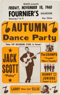 Music Memorabilia:Posters, Jack Scott Fournier's Ballroom Concert Poster (1960). ExtremelyRare....
