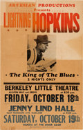 Music Memorabilia:Posters, Lightning Hopkins Berkeley Little Theatre/Jenny Lind Hall ConcertPoster (Artesian Productions, circa 1963). Very Rare....