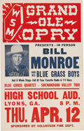 Music Memorabilia:Posters, Bill Monroe And The Blue Grass Boys Grand Ole Opry High School Aud.Concert Poster (1956). Very Rare....