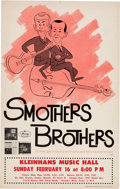 Music Memorabilia:Posters, Smothers Brothers Kleinhans Music Hall Concert Poster (1964). VeryRare....
