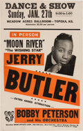 Music Memorabilia:Posters, Jerry Butler/Bobby Peterson Meadow Acres Ballroom Concert Poster(1963). Very Rare....