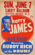 Music Memorabilia:Posters, Harry James/Buddy Rich Liberty Ballroom Concert Poster (circa1953). Extremely Rare....