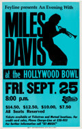 Music Memorabilia:Posters, Miles Davis Hollywood Bowl Concert Poster (Keyline, 1981).Extremely Rare. ...
