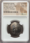 Ancients:Byzantine, Ancients: Isaac II Angelus, first reign (AD 1185-1195). EL asprontrachy (3.91 gm). NGC Choice AU ★ 5/5 - 5/5....