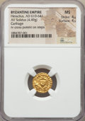 Ancients:Byzantine, Ancients: Heraclius (AD 610-641). AV solidus (4.49 gm). NGC MS 4/5- 4/5....