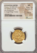 Ancients:Byzantine, Ancients: Phocas (AD 602-610). AV solidus (4.31 gm). NGC MS 5/5 -3/5, clipped....