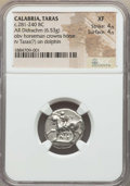 Ancients:Greek, Ancients: CALABRIA. Tarentum. Ca. 272-240 BC. AR stater or didrachm(6.53 gm). NGC XF 4/5 - 4/5....