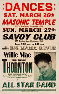 Willie Mae Big Mama Thornton Masonic Temple Concert Poster (1966). Extremely Rare