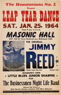 Music Memorabilia:Photos, Jimmy Reed Masonic Hall Concert Poster (1964). Very Rare....