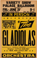 Music Memorabilia:Posters, Gladiolas Palace Ballroom Concert Poster (1957). Extremely Rare....