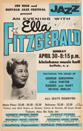 Music Memorabilia:Posters, Ella Fitzgerald Kleinhans Music Hall Concert Poster (1961). Extremely Rare. ...