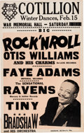 Music Memorabilia:Posters, Otis Williams/Faye Adams/Ravens Cotillion Concert Poster (1958).Extremely Rare....