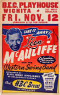Music Memorabilia:Posters, Leon McAuliffe B.E.C. Playhouse Concert Poster (1954). ExtremelyRare....