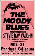 Music Memorabilia:Posters, Moody Blues/Stevie Ray Vaughn Portland Coliseum Concert Poster(1983). Very Rare....