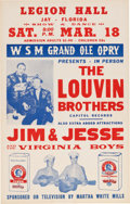 Music Memorabilia:Posters, Louvin Brothers/Jim & Jessie Grand Ole Opry Legion Hall ConcertPoster (1961). Very Rare....
