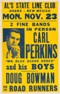 Music Memorabilia:Posters, Carl Perkins Al's State Line Club Concert Poster (1959). ExtremelyRare....