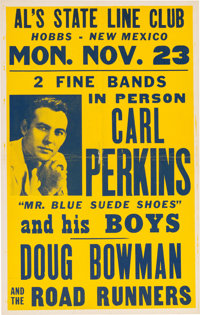 Carl Perkins Al's State Line Club Concert Poster (1959). Extremely Rare