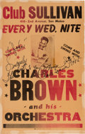 Music Memorabilia:Posters, Charles Brown Club Sullivan Autographed Concert Poster (circa early1960s). Extremely Rare....