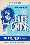 Music Memorabilia:Posters, Chris Connor Penthouse Concert Poster (1960s). Very Rare....