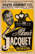 Music Memorabilia:Posters, Illinois Jacquet State Armory Concert Poster (1948). ExtremelyRare....