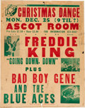 Music Memorabilia:Posters, Freddie King Ascot Room Concert Poster (1972). Extremely Rare....
