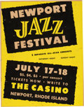 Music Memorabilia:Posters, Billie Holiday/Newport Jazz Festival Poster (1954). ExtremelyRare....